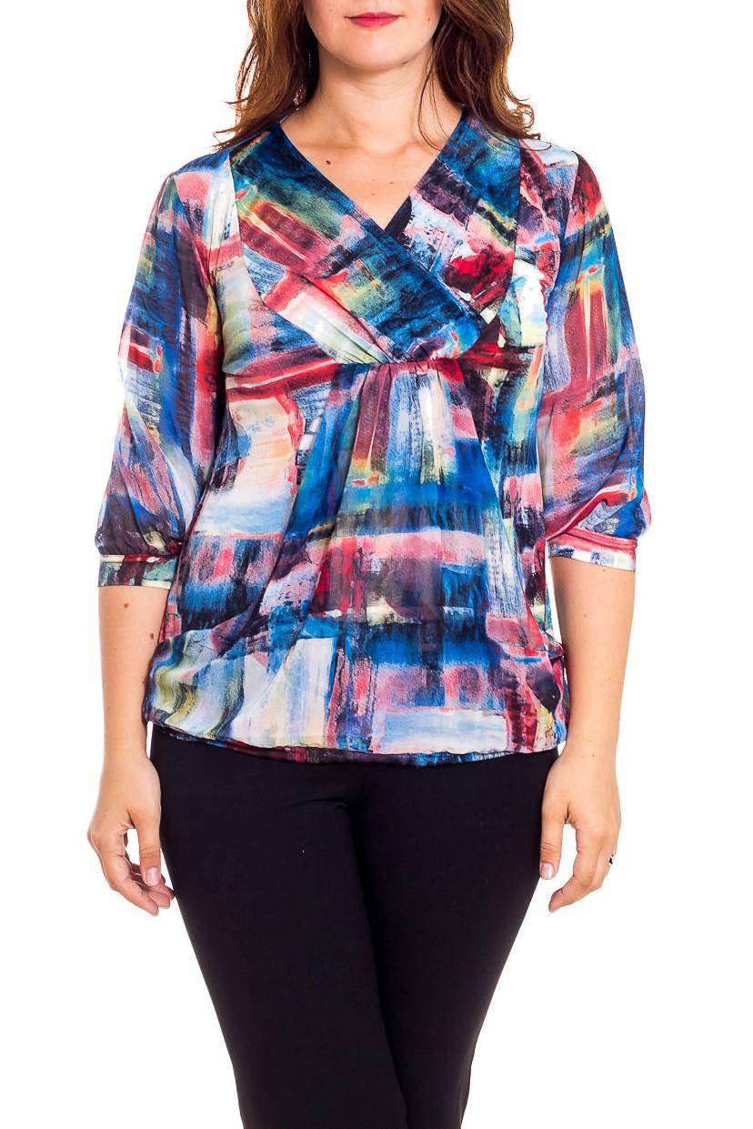 БлузкаБлузки<br>Замечательная женская блузка, которая станет изумительным вариантом повседневного или выходного наряда. Завышенная линия талии. Рукава ниже локтя на манжетах.  В изделии использованы цвета: синий, бордовый, белый и др.  Рост девушки-фотомодели 180 см.<br><br>Горловина: V- горловина,Запах<br>По материалу: Вискоза,Трикотаж,Шифон<br>По рисунку: Абстракция,В полоску,С принтом,Цветные<br>По сезону: Весна,Зима,Лето,Осень,Всесезон<br>По силуэту: Полуприталенные<br>По стилю: Повседневный стиль<br>По элементам: С вырезом,С декором,С манжетами<br>Рукав: Рукав три четверти<br>Размер : 48,50,52,54,56,58<br>Материал: Холодное масло + Шифон<br>Количество в наличии: 6