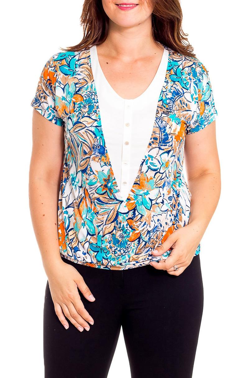БлузкаБлузки<br>Чудесная женская блузка из приятного к телу трикотажа станет основой Вашего повседневного гардероба. Короткие рукава.  В изделии использованы цвета: голубой, белый и др.  Рост девушки-фотомодели 180 см.<br><br>Горловина: С- горловина<br>По материалу: Вискоза,Трикотаж<br>По рисунку: Растительные мотивы,С принтом,Цветные,Цветочные<br>По сезону: Весна,Зима,Лето,Осень,Всесезон<br>По силуэту: Полуприталенные<br>По стилю: Летний стиль,Повседневный стиль<br>По элементам: С декором<br>Рукав: Короткий рукав<br>Размер : 46,48,52,54,56<br>Материал: Холодное масло<br>Количество в наличии: 5