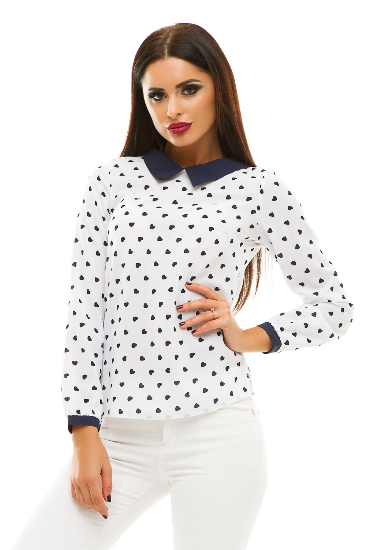 Блузка блузка женская oodji ultra цвет белый синий 11400344 2 12836 1275f размер 36 42 170