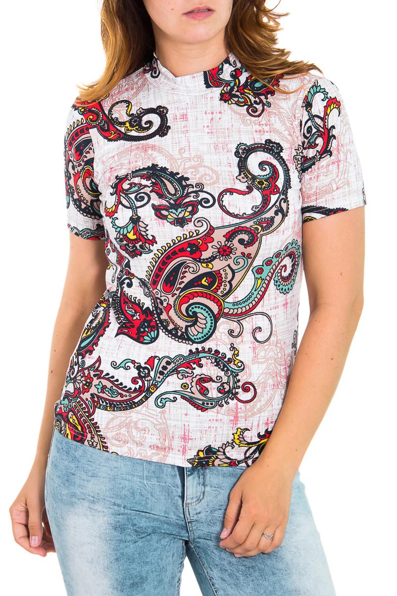 БлузкаБлузки<br>Цветная женская блузка с небольшим воротником quot;стойкаquot; и короткими рукавами. Модель выполнена из приятного трикотажа. Отличный выбор для повседневного гардероба.  Цвет: мультицвет  Рост девушки-фотомодели 180 см<br><br>Воротник: Стойка<br>По материалу: Вискоза<br>По рисунку: Абстракция,Цветные,С принтом,Этнические<br>По сезону: Весна,Всесезон,Зима,Лето,Осень<br>По силуэту: Приталенные<br>По стилю: Повседневный стиль,Летний стиль<br>Рукав: Короткий рукав<br>Размер : 46,50,52<br>Материал: Вискоза<br>Количество в наличии: 4