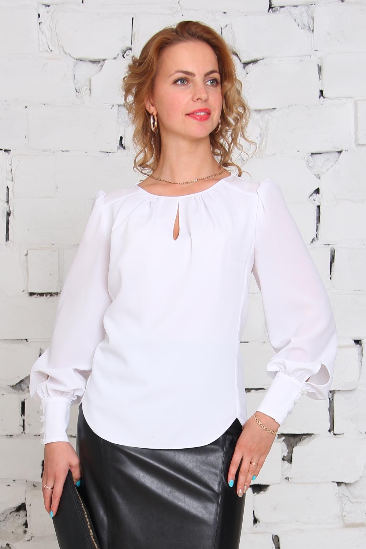 БлузкаБлузки<br>Универсальная белая блузка с объемными рукавами. Модель выполнена из приятного материала. Отличный выбор для любого случая.  Цвет: белый  Ростовка изделия 170 см.<br><br>По образу: Свидание,Город,Офис<br>По стилю: Повседневный стиль,Нарядный стиль,Офисный стиль<br>По материалу: Вискоза,Тканевые<br>По рисунку: Однотонные<br>По сезону: Всесезон,Осень,Весна,Зима,Лето<br>По силуэту: Полуприталенные<br>По элементам: С вырезом,С манжетами,Со складками<br>Рукав: Длинный рукав<br>Горловина: С- горловина<br>Размер: 46,48,50,52,54,56<br>Материал: 50% вискоза 50% полиэстер<br>Количество в наличии: 2