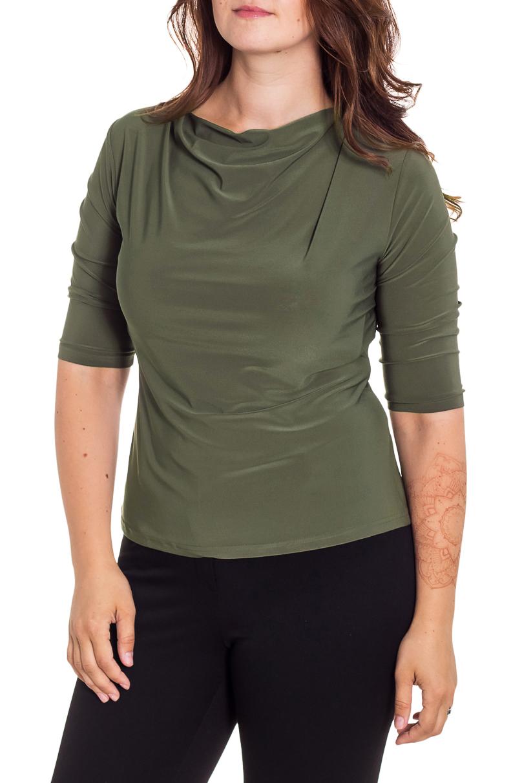 ДжемперБлузки<br>Стильный джемпер с воротником качель и рукавами 3/4 актуального насыщенного темно-зеленого оттенка. Модель приталенного силуэта из нежного трикотажа. Удобный вариант для современной женщины. Этот джемпер станет прекрасным дополнением любого элемента Вашего гардероба.  Цвет: зеленый  Рост девушки-фотомодели 180 см.<br><br>Горловина: Качель<br>По материалу: Трикотаж<br>По образу: Город<br>По рисунку: Однотонные<br>По сезону: Весна,Зима,Лето,Осень,Всесезон<br>По силуэту: Приталенные<br>По стилю: Повседневный стиль<br>Рукав: Рукав три четверти<br>Размер : 50,58<br>Материал: Холодное масло<br>Количество в наличии: 2