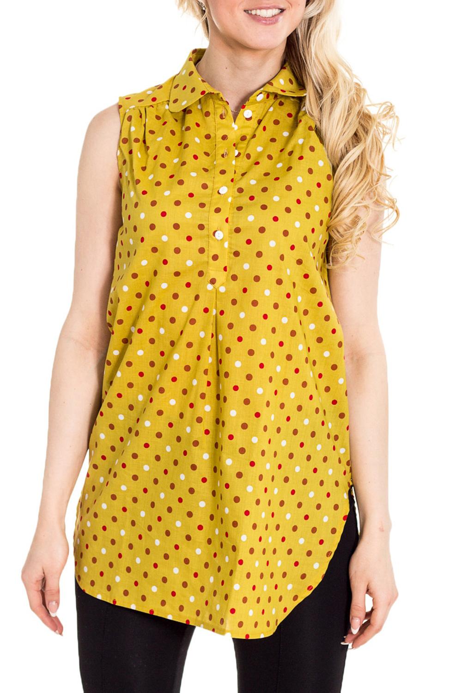 ТуникаТуники для будущих мам<br>Удобная туника из хлопкового материала.  За счет свободного кроя и эластичного материала изделие можно носить во время беременности  Цвет: желтый, оранжевый и др.  Рост девушки-фотомодели 170 см.<br><br>Воротник: Рубашечный<br>По рисунку: В горошек,Цветные,С принтом<br>По силуэту: Полуприталенные<br>По сезону: Лето<br>По материалу: Хлопок<br>По стилю: Повседневный стиль<br>Рукав: Без рукавов<br>Размер : 42,44,46,48,50<br>Материал: Хлопок<br>Количество в наличии: 5