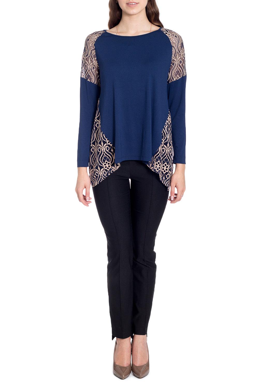 БлузкаБлузки<br>Чудесная блузка с фигурным подолом. Модель выполнена из приятного материала. Отличный выбор для любого случая.  В изделии использованы цвета: синий, бежевый  Рост девушки-фотомодели 170 см<br><br>Горловина: С- горловина<br>По материалу: Вискоза,Трикотаж<br>По рисунку: Цветные<br>По сезону: Весна,Зима,Лето,Осень,Всесезон<br>По силуэту: Свободные<br>По стилю: Нарядный стиль,Повседневный стиль<br>По элементам: С декором,С фигурным низом<br>Рукав: Длинный рукав<br>Размер : 44,46,48<br>Материал: Трикотаж + Гипюр<br>Количество в наличии: 3