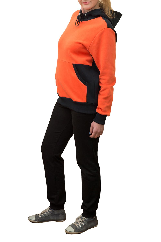 ТолстовкаТолстовки<br>Женская толстовка с капюшоном и длинными рукавами. Модель выполнена из хлопковой ткани. Отличный выбор для повседневного гардероба и активного отдыха.  Цвет: черный, оранжевый<br><br>По образу: Город,Спорт<br>По рисунку: Цветные<br>По сезону: Весна,Осень<br>По силуэту: Свободные<br>По элементам: С капюшоном,С манжетами,С карманами<br>Рукав: Длинный рукав<br>По материалу: Трикотаж,Хлопок<br>По стилю: Повседневный стиль,Спортивный стиль<br>Размер : 48,50,52,54<br>Материал: Трикотаж<br>Количество в наличии: 2