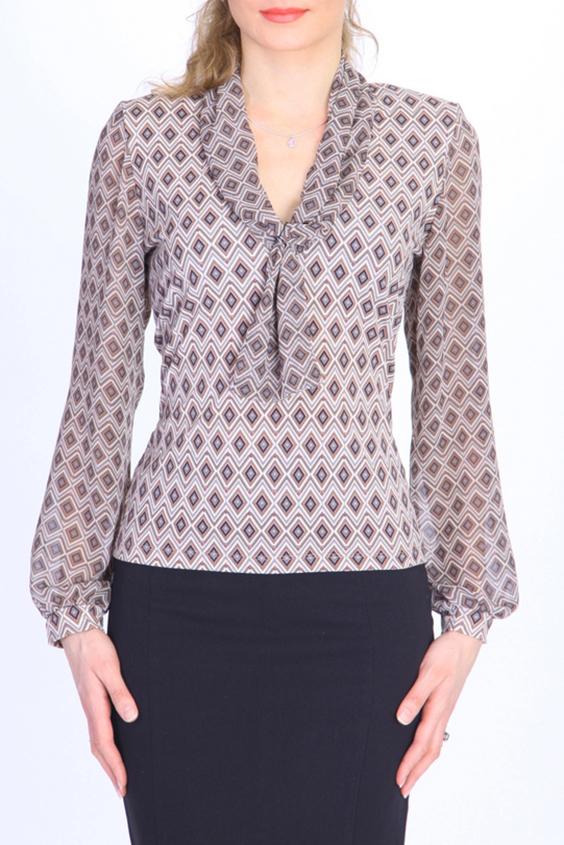 БлузкаБлузки<br>Элегантная женская блузка из струящегося шифона на подкладе из вискозы. Такая блузка станет Вашей любимой вещью для создания повседневного образа.  Цвет: бежевый, коричневый.  Ростовка изделия 170 см.<br><br>По материалу: Вискоза,Шифон<br>По образу: Город,Офис,Свидание<br>По рисунку: С принтом,Цветные,Геометрия<br>По сезону: Весна,Зима,Лето,Осень,Всесезон<br>По силуэту: Прямые<br>По стилю: Повседневный стиль<br>По элементам: С декором,С манжетами,С подкладом<br>Рукав: Длинный рукав<br>Горловина: V- горловина<br>Размер : 48<br>Материал: Вискоза + Шифон<br>Количество в наличии: 1