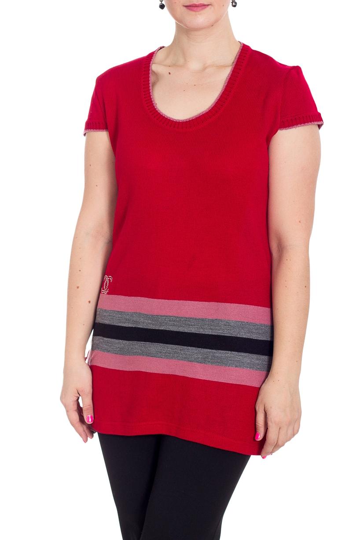 ТуникаТуники<br>Удлиненная туника с круглой горловиной и короткими рукавами. Модель выполнена из вязаного трикотажа. Туника будет отлично смотреться с блузками и водолазками.  В изделии использованы цвета: красный, серый, розовый, черный  Рост девушки-фотомодели 180 см<br><br>Горловина: С- горловина<br>По материалу: Вязаные,Трикотаж<br>По рисунку: С принтом,Цветные<br>По силуэту: Приталенные<br>По стилю: Повседневный стиль<br>Рукав: Короткий рукав<br>По сезону: Осень,Весна<br>Размер : 54<br>Материал: Вязаное полотно<br>Количество в наличии: 1