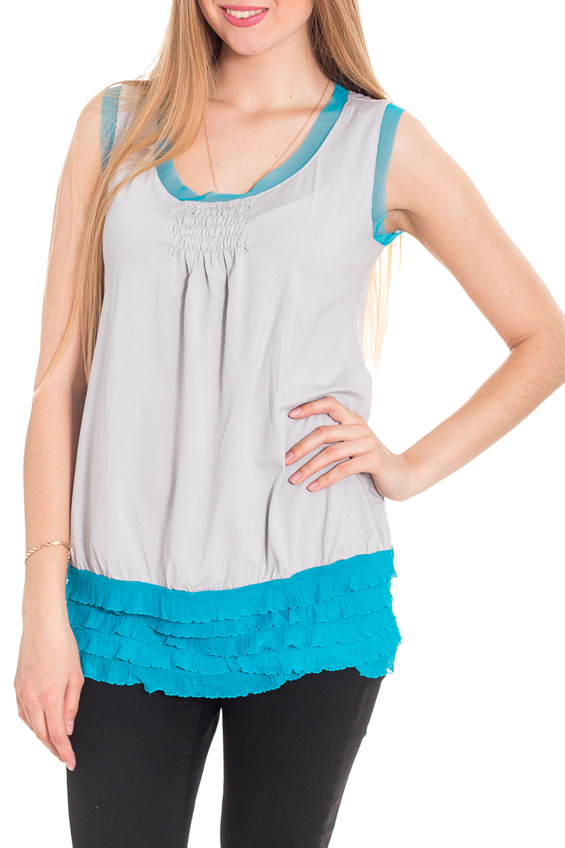 БлузкаБлузки<br>Удлиненная блузка без рукавов. Модель выполнена из мягкой вискозы. Отличный выбор для повседневного гардероба.  За счет свободного кроя и эластичного материала изделие комфортно носить во время беременности  Цвет: серый, голубой  Рост девушки-фотомодели 170 см<br><br>Горловина: С- горловина<br>По материалу: Вискоза<br>По рисунку: Цветные<br>По сезону: Весна,Зима,Лето,Осень,Всесезон<br>По силуэту: Полуприталенные<br>По стилю: Повседневный стиль<br>Рукав: Без рукавов<br>По элементам: С воланами и рюшами,С декором<br>Размер : 42,44,46,48,50,52,54<br>Материал: Вискоза<br>Количество в наличии: 14
