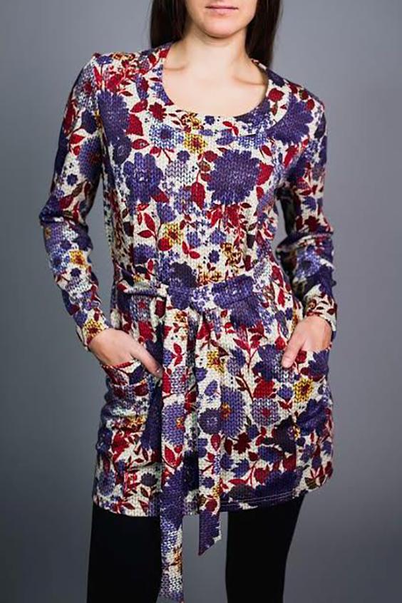 БлузкаТуники<br>Удлиненная блузка с круглой горловиной и длинными рукавами. Модель выполнена из приятного материала. Отличный выбор для повседневного гардероба.  Блузка без пояса.  В изделии использованы цвета:белый, фиолетовый и др.  Ростовка изделия 170 см.<br><br>Горловина: С- горловина<br>По материалу: Вискоза<br>По рисунку: Растительные мотивы,С принтом,Цветные,Цветочные<br>По силуэту: Полуприталенные<br>По стилю: Повседневный стиль<br>Рукав: Длинный рукав<br>По сезону: Зима<br>Размер : 54<br>Материал: Вискоза<br>Количество в наличии: 1