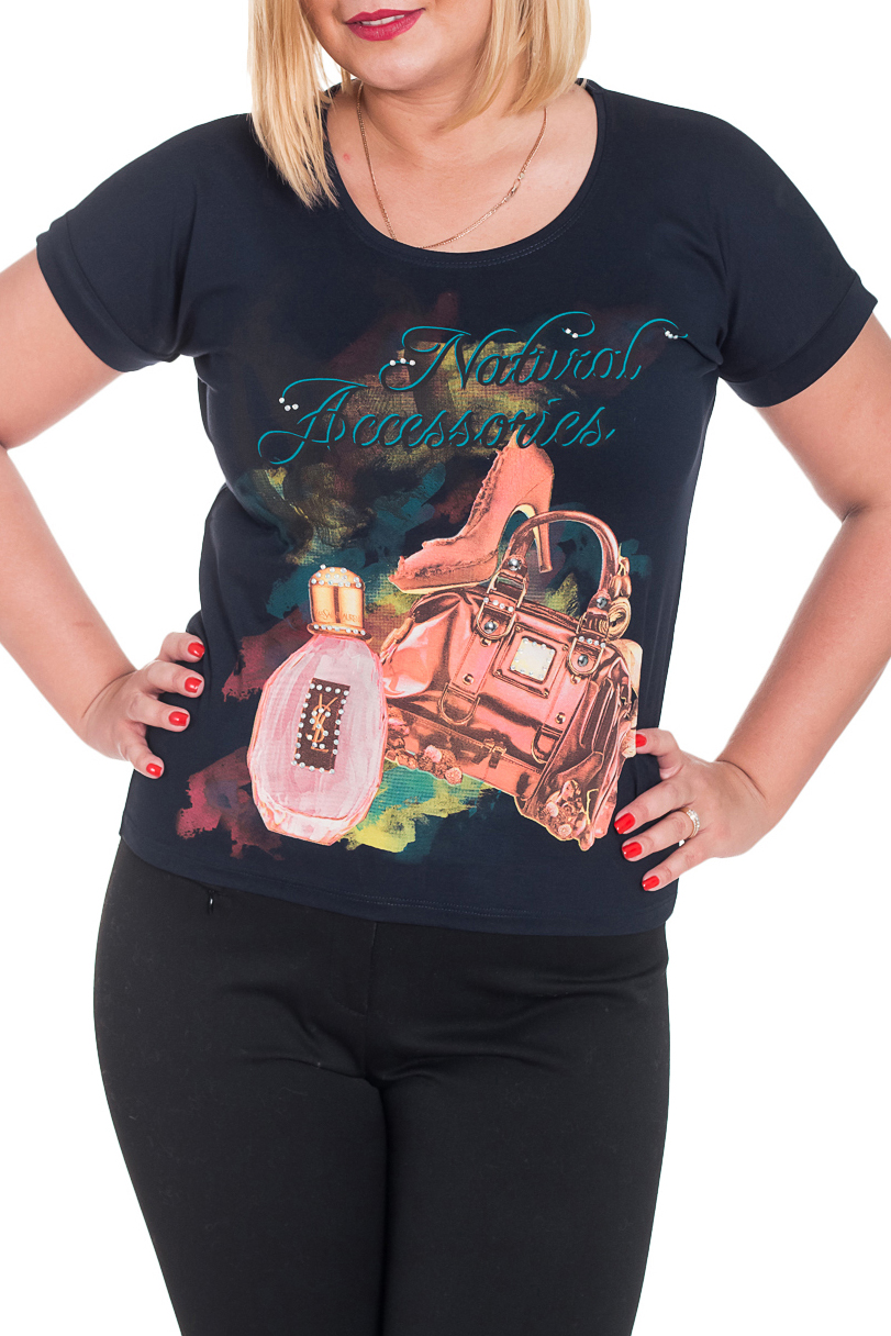 ФутболкаФутболки<br>Оригинальная футболка украшена модным принтом. Отлично смотрится в комбинации с любыми узкими брюками или юбками Короткий рукав и округлый вырез горловины.  Цвет: синий, розовый, бирюзовый, желтый  Рост девушки-фотомодели 170 см.  Парметры изделия: 40 размер - обхват груди 74-77 см., обхват талии 60-62 см. 42 размер - обхват груди 78-81 см., обхват талии 63-65 см. 44 размер - обхват груди 82-85 см., обхват талии 66-69 см. 46 размер - обхват груди 86-89 см., обхват талии 70-73 см. 48 размер - обхват груди 90-93 см., обхват талии 74-77 см. 50 размер - обхват груди 94-97 см., обхват талии 78-81 см. 52 размер - обхват груди 98-102 см., обхват талии 82-86 см. 54 размер - обхват груди 103-107 см., обхват талии 87-91 см. 56 размер - обхват груди 108-113 см., обхват талии 92-96 см. 58/60 размер - обхват груди 114-119 см., обхват талии 97-102 см. 62 размер - обхват груди 120-125 см., обхват талии 103-108 см.<br><br>Горловина: С- горловина<br>По материалу: Вискоза,Трикотаж<br>По рисунку: Однотонные,С принтом,Цветные<br>По сезону: Весна,Всесезон,Зима,Лето,Осень<br>По силуэту: Полуприталенные<br>По стилю: Повседневный стиль<br>По элементам: С молнией<br>Рукав: Короткий рукав<br>Размер : 48,50<br>Материал: Вискоза<br>Количество в наличии: 2