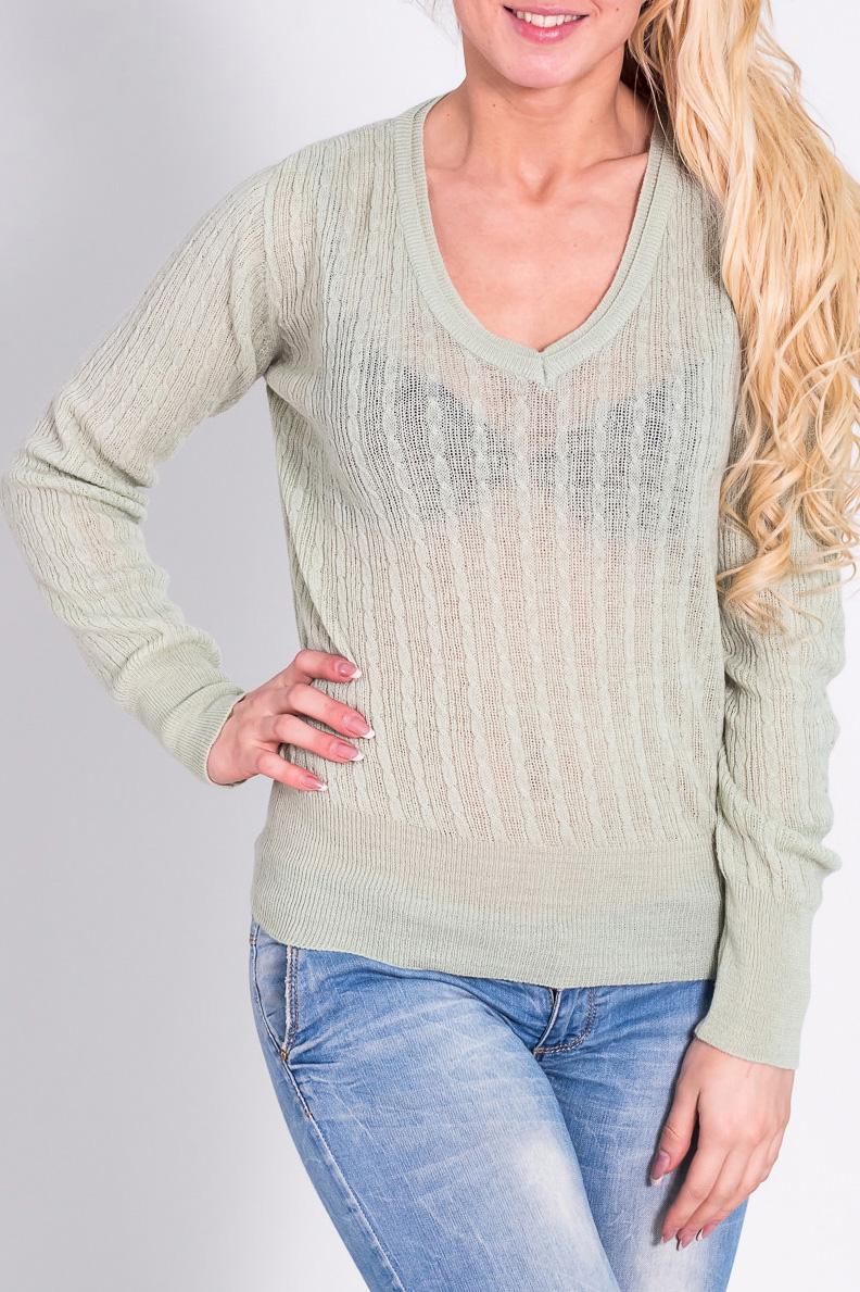 ПуловерДжемперы<br>Теплый пуловер с длинными рукавами. Отличный выбор для повседневного гардероба.  Цвет: светло-зеленый  Рост девушки-фотомодели 170 см.<br><br>Горловина: V- горловина<br>По материалу: Трикотаж,Шерсть,Вязаные<br>По рисунку: Однотонные<br>По сезону: Зима<br>По силуэту: Полуприталенные<br>По стилю: Повседневный стиль<br>Рукав: Длинный рукав<br>Размер : 44,46,48<br>Материал: Вязаное полотно<br>Количество в наличии: 3