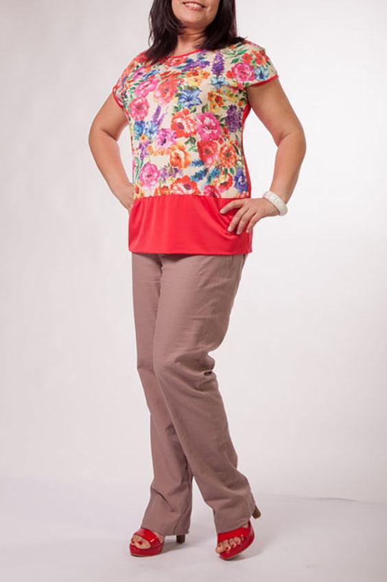 БлузкаБлузки<br>Цветная блузка с короткими рукавами. Модель выполнена из приятного трикотажа. Отличный выбор для повседневного гардероба. Спинка изделия из однотонной ткани.  Цвет: коралловый, мультицвет  Ростовка изделия 170 см.<br><br>Горловина: С- горловина<br>По материалу: Трикотаж<br>По образу: Город,Свидание<br>По рисунку: Растительные мотивы,С принтом,Цветные,Цветочные<br>По сезону: Весна,Зима,Лето,Осень,Всесезон<br>По силуэту: Прямые<br>По стилю: Повседневный стиль,Романтический стиль<br>Рукав: Короткий рукав<br>Размер : 52,54<br>Материал: Холодное масло<br>Количество в наличии: 2