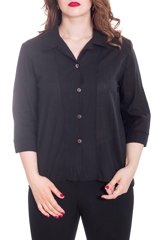 БлузкаБлузки<br>Классическая женская блузка - это универсальный предмет одежды, в котором можно пойти как на работу, так и на свидание.  Цвет: черный.  Рост девушки-фотомодели 180 см<br><br>Воротник: Рубашечный,Стояче-отложной<br>Застежка: С пуговицами<br>По материалу: Хлопок<br>По рисунку: Однотонные<br>По сезону: Весна,Зима,Лето,Осень,Всесезон<br>По силуэту: Полуприталенные<br>По стилю: Классический стиль,Кэжуал,Офисный стиль,Повседневный стиль,Романтический стиль<br>По элементам: С воротником,С декором,С манжетами<br>Рукав: Рукав три четверти<br>Размер : 48-50<br>Материал: Хлопок<br>Количество в наличии: 1
