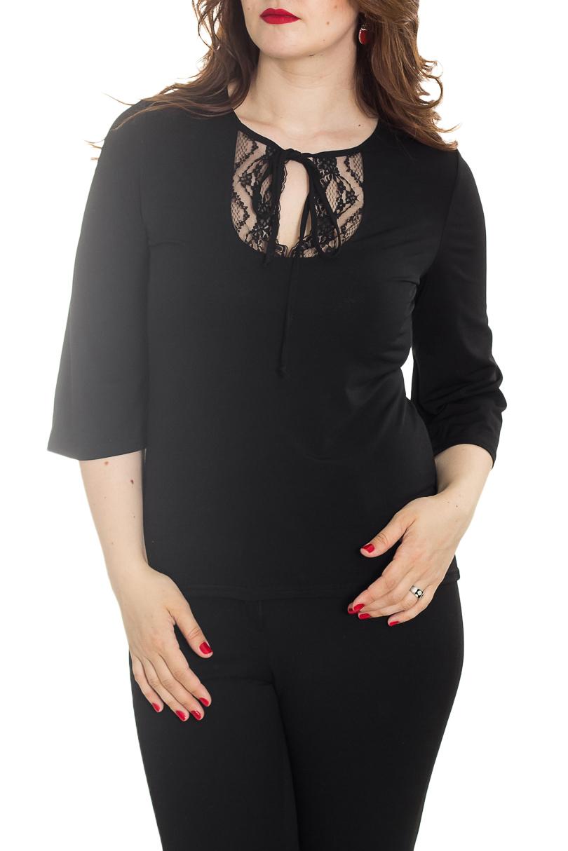БлузкаБлузки<br>Классическая женская блузка - это универсальный предмет одежды, в котором можно пойти как на работу, так и на свидание.  Цвет: черный.  Рост девушки-фотомодели 180 см<br><br>Горловина: С- горловина<br>По материалу: Трикотаж<br>По рисунку: Однотонные<br>По сезону: Весна,Зима,Лето,Осень,Всесезон<br>По силуэту: Полуприталенные<br>По стилю: Повседневный стиль<br>По элементам: С декором<br>Рукав: Рукав три четверти<br>Размер : 44-46,48-50,52-54,56-58<br>Материал: Холодное масло<br>Количество в наличии: 4