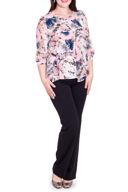 БлузкаБлузки<br>Цветная блузка с круглой горловиной и рукавами 3/4. Модель выполнена из приятного трикотажа и воздушного шифона. Отличный выбор для любого случая.  В изделии использованы цвета: белый, розовый, синий и др.  Рост девушки-фотомодели 180 см.<br><br>Горловина: С- горловина<br>По материалу: Вискоза,Трикотаж,Шифон<br>По рисунку: Растительные мотивы,С принтом,Цветные,Цветочные<br>По сезону: Весна,Зима,Лето,Осень,Всесезон<br>По силуэту: Полуприталенные<br>По стилю: Повседневный стиль<br>По элементам: С манжетами<br>Рукав: Рукав три четверти<br>Размер : 48,54,58<br>Материал: Холодное масло + Шифон<br>Количество в наличии: 3