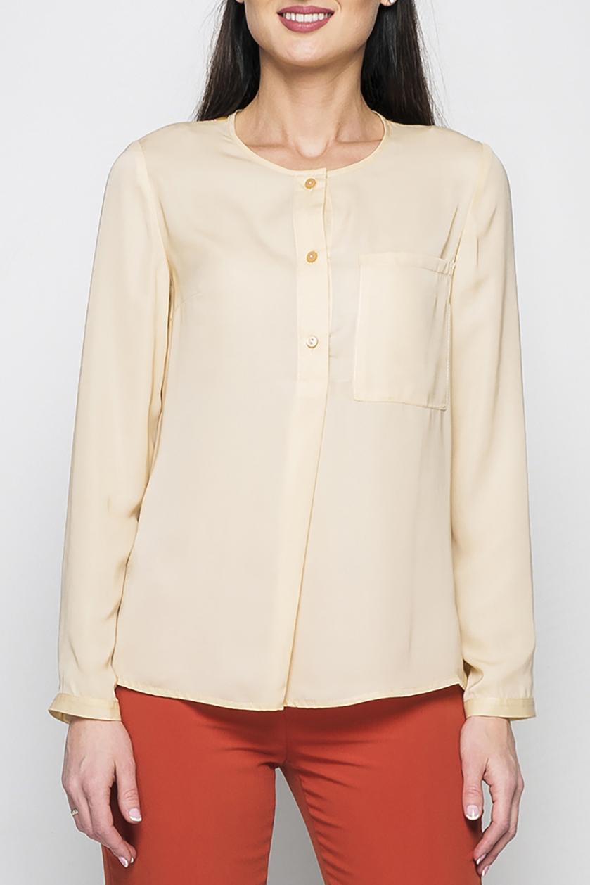 БлузкаБлузки<br>Женская рубашка из шифона прямого силуэта. На груди расположен накладной карман, длинные рукава дополнены манжетами с пуговицами. Низ рубашки асимметричен - спинка удлиненная. Блуза хорошо комбинируется с джинсами и различными моделями брюк. Отличный офисный вариант.  Параметры изделия:  44 размер: обхват груди - 94 см, длина рукава - 61 см, длина изделия по спинке - 68 см;  52 размер: обхват груди - 108 см, длина рукава - 61 см, длина изделия по спинке - 71 см.   Рост модели 175 см  Цвет: бежевый и др.<br><br>Горловина: С- горловина<br>Застежка: С пуговицами<br>По материалу: Шифон<br>По рисунку: С принтом,Цветные,Однотонные<br>По сезону: Весна,Зима,Лето,Осень,Всесезон<br>По силуэту: Прямые,Свободные<br>По стилю: Классический стиль,Кэжуал,Офисный стиль,Повседневный стиль<br>По элементам: С декором,С карманами,С манжетами,С фигурным низом<br>Рукав: Длинный рукав<br>Размер : 42,46,48,50,52,54<br>Материал: Шифон<br>Количество в наличии: 6