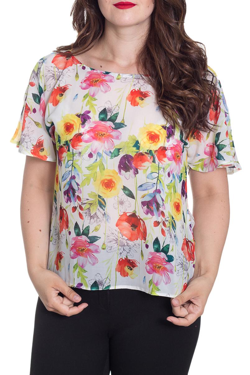 БлузкаБлузки<br>Цветная блузка с короткими рукавами. Модель выполнена из приятного материала. Отличный выбор для повседневного гардероба.  Цвет: белый, мультицвет  Рост девушки-фотомодели 180 см<br><br>Горловина: С- горловина<br>По материалу: Шифон<br>По рисунку: Растительные мотивы,С принтом,Цветные,Цветочные<br>По сезону: Весна,Зима,Лето,Осень,Всесезон<br>По силуэту: Прямые<br>По стилю: Повседневный стиль<br>Рукав: Короткий рукав<br>Размер : 52-54<br>Материал: Шифон<br>Количество в наличии: 1