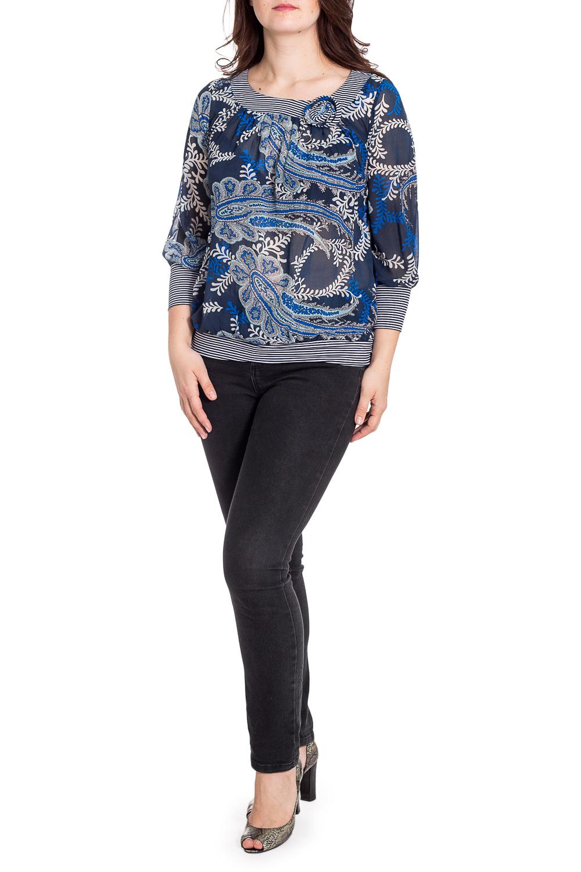 БлузкаБлузки<br>Цветная блузка с длинными рукавами. Модель выполнена из приятного материала. Отличный выбор для любого случая.  В изделии использованы цвета: синий, белый и др.  Рост девушки-фотомодели 180 см.<br><br>Горловина: С- горловина<br>По материалу: Вискоза,Трикотаж,Шифон<br>По рисунку: С принтом,Цветные<br>По сезону: Весна,Зима,Лето,Осень,Всесезон<br>По силуэту: Полуприталенные<br>По стилю: Повседневный стиль<br>По элементам: С манжетами<br>Рукав: Длинный рукав<br>Размер : 50,52,54,56<br>Материал: Шифон + Трикотаж<br>Количество в наличии: 4
