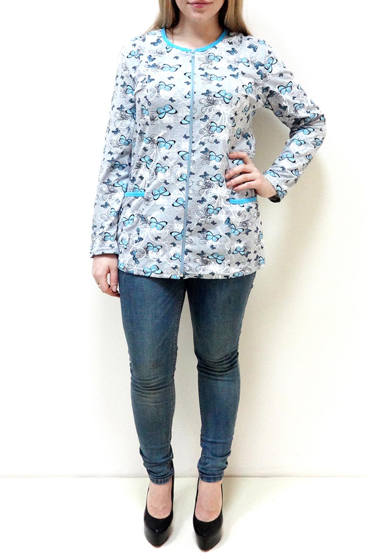 КофтаКофты<br>Домашняя кофта с длинными рукавами. Домашняя одежда, прежде всего, должна быть удобной, практичной и красивой. В нашей домашней одежде Вы будете чувствовать себя комфортно, особенно, по вечерам после трудового дня.  Цвет: серый, голубой  Рост девушки-фотомодели 162 см<br><br>Горловина: С- горловина<br>По длине: Удлиненные<br>По рисунку: Бабочки,Цветные,С принтом<br>По силуэту: Приталенные<br>По элементам: С карманами,С молнией<br>Рукав: Длинный рукав<br>По сезону: Осень,Весна<br>По материалу: Трикотаж,Хлопок<br>Размер : 52,54<br>Материал: Хлопок<br>Количество в наличии: 3
