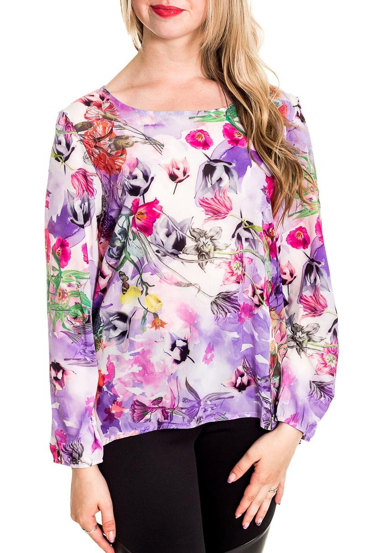 БлузкаБлузки<br>Цветная блузка с круглой горловиной и длинными рукавами. Модель выполнена из приятного материала. Отличный выбор для повседневного гардероба.  Цвет: сиреневый, белый и др.  Рост девушки-фотомодели 170 см<br><br>Горловина: С- горловина<br>По материалу: Шифон<br>По образу: Город,Свидание<br>По рисунку: Растительные мотивы,С принтом,Цветные,Цветочные<br>По сезону: Весна,Зима,Лето,Осень,Всесезон<br>По силуэту: Полуприталенные<br>По стилю: Повседневный стиль<br>Рукав: Длинный рукав<br>Размер : 44-46,48-50,52-54,56-58<br>Материал: Шифон<br>Количество в наличии: 4