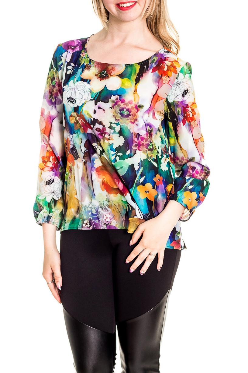 БлузкаБлузки<br>Цветная блузка с круглой горловиной и длинными рукавами. Модель выполнена из приятного материала. Отличный выбор для повседневного гардероба.  Цвет: мультицвет  Рост девушки-фотомодели 170 см<br><br>Горловина: С- горловина<br>По материалу: Шифон<br>По образу: Город,Свидание<br>По рисунку: Растительные мотивы,С принтом,Цветные,Цветочные<br>По сезону: Весна,Зима,Лето,Осень,Всесезон<br>По силуэту: Полуприталенные<br>По стилю: Повседневный стиль<br>Рукав: Длинный рукав<br>Размер : 44-46,48-50,52-54,56-58<br>Материал: Шифон<br>Количество в наличии: 4