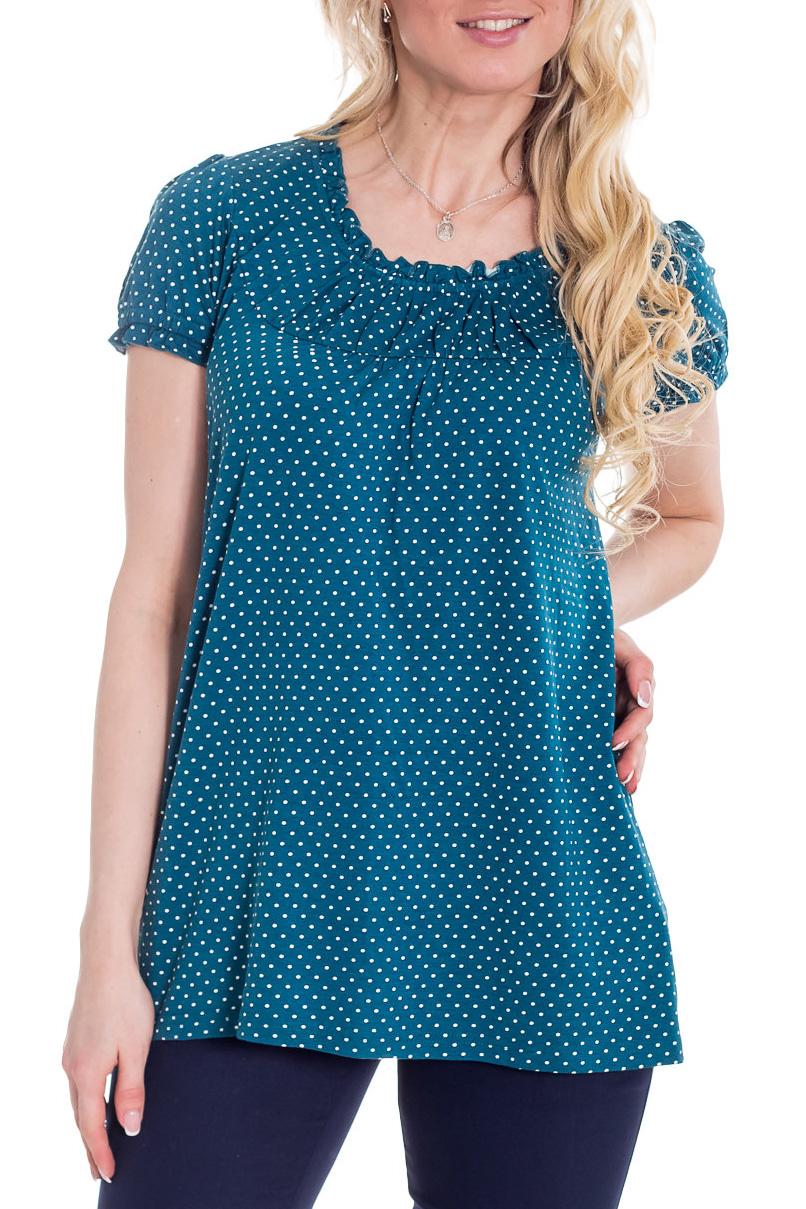БлузкаБлузки<br>Удлиненная блузка с короткими рукавами. Модель выполнена из мягкой вискозы. Отличный выбор для повседневного гардероба.  Цвет: синий  Рост девушки-фотомодели 170 см<br><br>Горловина: С- горловина<br>По материалу: Вискоза,Трикотаж<br>По рисунку: В горошек,С принтом,Цветные<br>По сезону: Весна,Зима,Лето,Осень,Всесезон<br>По силуэту: Полуприталенные<br>По стилю: Повседневный стиль,Летний стиль<br>Рукав: Короткий рукав<br>По элементам: С декором<br>Размер : 44,46<br>Материал: Трикотаж<br>Количество в наличии: 2