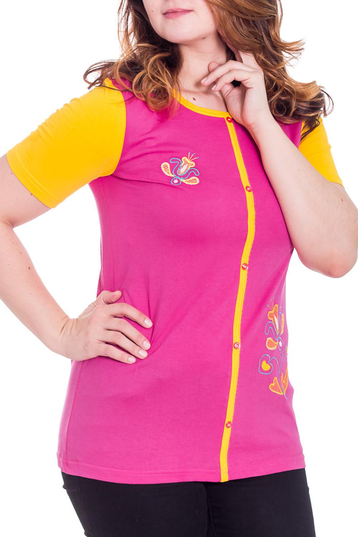 ТуникаТуники<br>Домашняя туника с короткими рукавами. Домашняя одежда, прежде всего, должна быть удобной, практичной и красивой. В тунике Вы будете чувствовать себя комфортно, особенно, по вечерам после трудового дня.  Цвет: желтый, розовый  Рост девушки-фотомодели 180 см.<br><br>Горловина: С- горловина<br>По длине: Удлиненные<br>По рисунку: Цветные<br>По сезону: Весна,Осень<br>По силуэту: Полуприталенные<br>Рукав: Короткий рукав<br>По материалу: Хлопок<br>Размер : 46,54<br>Материал: Хлопок<br>Количество в наличии: 2