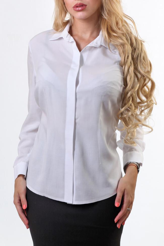 БлузкаРубашки<br>Блуза классическая из эластичной фактуры. Удлиненная, полуприлегающего силуэта. На полочке потайная центральная застежка на пуговицы и нагрудные и талевые выточки. Воротник стояче-отложной с отрезной стойкой. Рукав втачной, длинный. По низу рукава притачной манжет с одной пуговицей. В комплекте с классическими юбками или брюками из нашей коллекции «Офис», эта блуза станет отличным вариантом для офисного дресс-кода.  В изделии использованы цвета: белый  Ростовка изделия 164-170 см.<br><br>Воротник: Рубашечный<br>Застежка: С пуговицами<br>По материалу: Блузочная ткань<br>По рисунку: Однотонные<br>По сезону: Весна,Зима,Лето,Осень,Всесезон<br>По силуэту: Полуприталенные<br>По стилю: Классический стиль,Офисный стиль,Повседневный стиль<br>По элементам: С манжетами<br>Рукав: Длинный рукав<br>Размер : 48,50,54<br>Материал: Блузочная ткань<br>Количество в наличии: 3