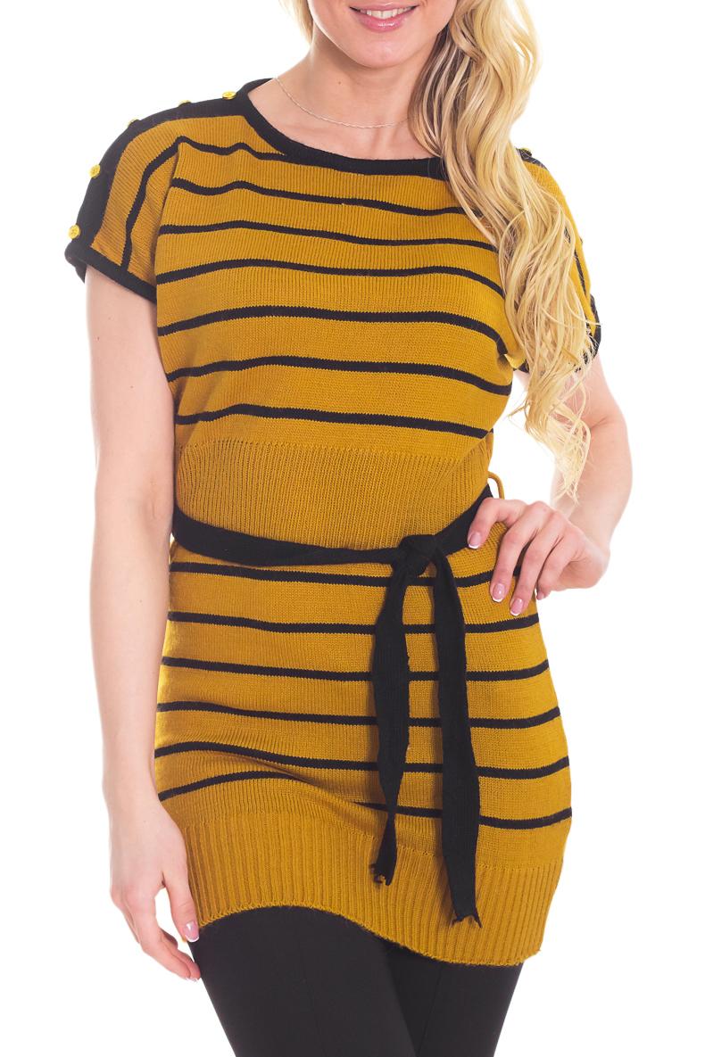 ТуникаТуники<br>Цветная туника с короткими рукавами. Вязаный трикотаж - это красота, тепло и комфорт. В вязаной одежде очень легко оставаться женственной и в то же время не замёрзнуть.  Цвет: зелено-желтый, черный.  Рост девушки-фотомодели 170 см<br><br>Горловина: С- горловина<br>По материалу: Вязаные,Трикотаж<br>По образу: Город,Свидание<br>По рисунку: В полоску,Цветные,С принтом<br>По стилю: Повседневный стиль<br>По элементам: С декором<br>Рукав: Короткий рукав<br>По сезону: Осень,Весна<br>По силуэту: Приталенные<br>Размер : 44<br>Материал: Вязаное полотно<br>Количество в наличии: 1