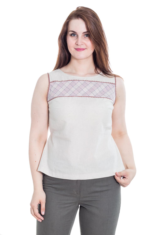 БлузкаБлузки<br>Классическая женская блузка без рукавов - это универсальный предмет одежды, в котором можно пойти как на работу, так и на свидание.  Цвет: серо-бежевый.  Рост девушки-фотомодели 180 см<br><br>Горловина: С- горловина<br>По материалу: Лен<br>По образу: Город,Круиз,Офис,Свидание<br>По рисунку: Однотонные<br>По сезону: Весна,Зима,Лето,Осень,Всесезон<br>По силуэту: Полуприталенные<br>По стилю: Винтаж,Классический стиль,Кэжуал,Летний стиль,Офисный стиль,Повседневный стиль<br>По элементам: С декором<br>Рукав: Без рукавов<br>Размер : 50<br>Материал: Лен<br>Количество в наличии: 1
