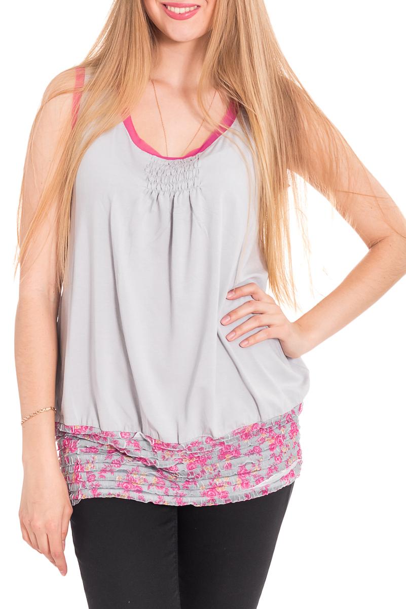 БлузкаБлузки<br>Удлиненная блузка без рукавов. Модель выполнена из мягкой вискозы. Отличный выбор для повседневного гардероба.  За счет свободного кроя и эластичного материала изделие комфортно носить во время беременности  Цвет: серый, розовый  Рост девушки-фотомодели 170 см<br><br>Горловина: С- горловина<br>По материалу: Вискоза<br>По рисунку: Цветные,Растительные мотивы,С принтом,Цветочные<br>По сезону: Весна,Зима,Лето,Осень,Всесезон<br>По силуэту: Полуприталенные<br>По стилю: Повседневный стиль,Летний стиль<br>Рукав: Без рукавов<br>По элементам: С декором<br>Размер : 42,44,46,48,50,52,54<br>Материал: Вискоза<br>Количество в наличии: 12
