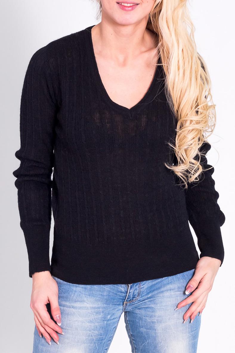 ПуловерДжемперы<br>Теплый пуловер с длинными рукавами. Отличный выбор для повседневного гардероба.  Цвет: черный  Рост девушки-фотомодели 170 см.<br><br>Горловина: V- горловина<br>По материалу: Трикотаж,Шерсть,Вязаные<br>По рисунку: Однотонные<br>По сезону: Зима<br>По силуэту: Полуприталенные<br>По стилю: Повседневный стиль<br>Рукав: Длинный рукав<br>Размер : 44,46<br>Материал: Вязаное полотно<br>Количество в наличии: 2
