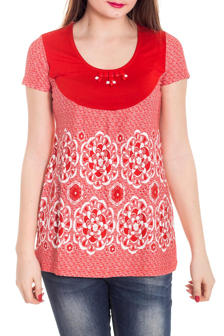 БлузкаБлузки<br>Красивая блузка с короткими рукавами. Модель выполнена из мягкой вискозы. Отличный выбор для повседневного гардероба.  Цвет: красный, белый  Рост девушки-фотомодели 180 см<br><br>По образу: Город<br>По стилю: Повседневный стиль<br>По материалу: Вискоза<br>По рисунку: С принтом,Цветные<br>По сезону: Весна,Зима,Лето,Всесезон,Осень<br>По силуэту: Полуприталенные<br>Рукав: Короткий рукав<br>Горловина: С- горловина<br>Размер: 44,46,48<br>Материал: 96% вискоза 4% эластан<br>Количество в наличии: 3