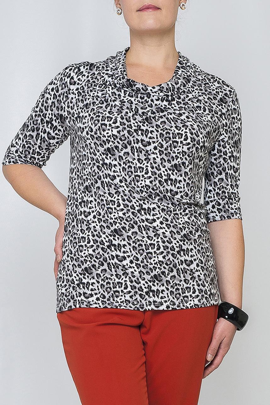 БлузкаБлузки<br>Женская блуза полуприталенного силуэта длиной до бедер. Всегда актуальная и женственная модель, которая добавит удобства любому образу.  Параметры изделия:  46 размер: обхват груди - 92,5 см, обхват бедер - 92 см, длина рукава - 31,5 см, длина изделия - 61,5;  52 размер: обхват груди - 104,5 см, обхват бедер - 104 см, длина рукава - 32,5 см, длина изделия - 64,5.  Цвет: белый, черный.<br><br>По материалу: Трикотаж<br>По рисунку: Леопард,С принтом,Цветные<br>По сезону: Весна,Зима,Лето,Осень,Всесезон<br>По силуэту: Полуприталенные<br>По стилю: Повседневный стиль<br>Рукав: До локтя<br>Воротник: Хомут<br>Размер : 48,50,54<br>Материал: Трикотаж<br>Количество в наличии: 3