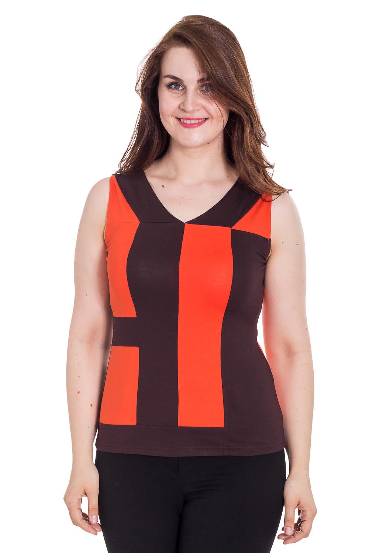 БлузкаБлузки<br>Красивая блузка без рукавов. Модель выполнена из мягкой вискозы. Отличный выбор для повседневного гардероба.  Цвет: коричневый, оранжевый  Рост девушки-фотомодели 180 см<br><br>По образу: Город<br>По стилю: Повседневный стиль<br>По материалу: Вискоза<br>По рисунку: Цветные,Геометрия,С принтом<br>По сезону: Весна,Зима,Лето,Всесезон,Осень<br>По силуэту: Полуприталенные<br>Рукав: Без рукавов<br>Горловина: V- горловина<br>Размер: 48,50<br>Материал: 96% вискоза 4% эластан<br>Количество в наличии: 2