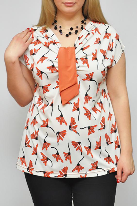 БлузкаБлузки<br>Цветная женская блузка полуприталенного силуэта с декоративным элементом на груди. Модель выполнена из приятного трикотажа. Отличный выбор для любого случая.  Цвет: белый, оранжевый, черный  Рост девушки-фотомодели 173 см<br><br>Горловина: V- горловина<br>По материалу: Вискоза,Трикотаж<br>По образу: Город,Свидание<br>По рисунку: Растительные мотивы,С принтом,Цветные,Цветочные<br>По сезону: Весна,Зима,Лето,Осень,Всесезон<br>По силуэту: Полуприталенные<br>По стилю: Повседневный стиль<br>Рукав: Короткий рукав<br>По элементам: С декором<br>Размер : 68-70<br>Материал: Холодное масло<br>Количество в наличии: 1