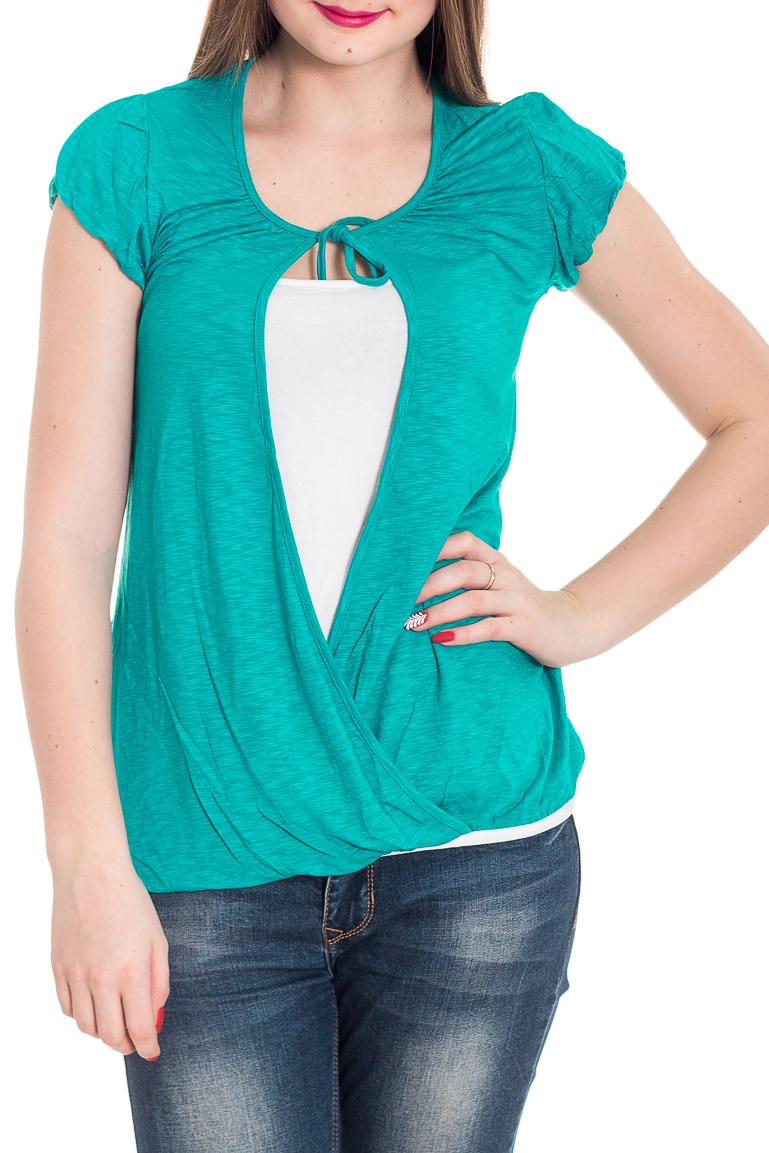 БлузкаБлузки<br>Красивая блузка с короткими рукавами. Модель выполнена из мягкой вискозы. Отличный выбор для повседневного гардероба.  Цвет: бирюзовый, белый  Рост девушки-фотомодели 180 см<br><br>Горловина: С- горловина<br>По материалу: Вискоза<br>По рисунку: Цветные<br>По сезону: Весна,Зима,Лето,Осень,Всесезон<br>По силуэту: Полуприталенные<br>По стилю: Повседневный стиль<br>Рукав: Короткий рукав<br>Размер : 44<br>Материал: Вискоза<br>Количество в наличии: 2