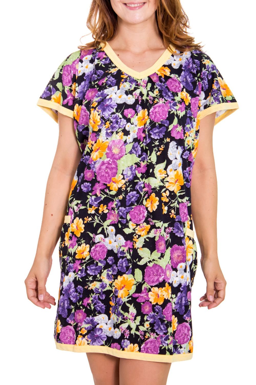 ПлатьеПлатья<br>Домашняя одежда, прежде всего, должна быть удобной, практичной и красивой. В наших изделиях Вы будете чувствовать себя комфортно, особенно, по вечерам после трудового дня. Цвет: на черном фоне цветочный принт.  Рост девушки-фотомодели 180 см<br><br>По рисунку: Растительные мотивы,Цветные,Цветочные,С принтом<br>По сезону: Весна,Зима,Лето,Осень,Всесезон<br>По силуэту: Полуприталенные<br>По форме: Платья<br>Рукав: Короткий рукав<br>Горловина: V- горловина<br>По длине: До колена<br>По материалу: Хлопок<br>Размер : 48<br>Материал: Хлопок<br>Количество в наличии: 1
