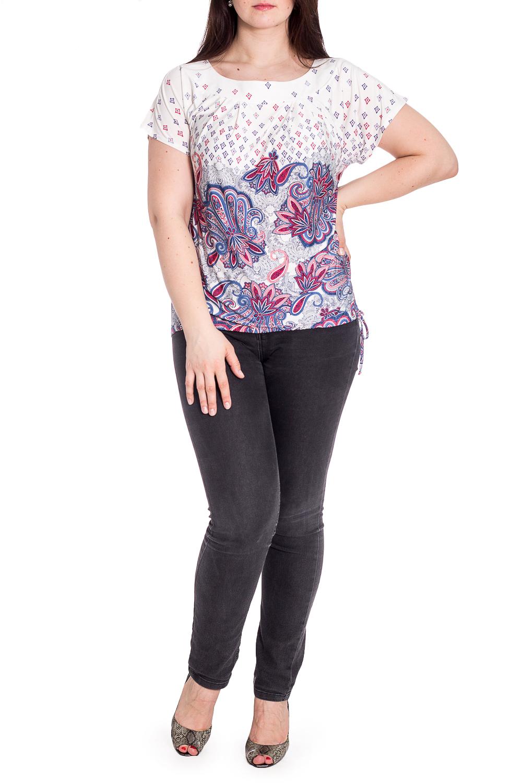 БлузкаБлузки<br>Цветная блузка с короткими рукавами. Модель выполнена из приятного материала. Отличный выбор для повседневного гардероба.  В изделии использованы цвета: белый, синий, красный и др.  Рост девушки-фотомодели 180 см.<br><br>Горловина: С- горловина<br>По материалу: Вискоза,Трикотаж<br>По рисунку: С принтом,Цветные,Этнические<br>По сезону: Весна,Зима,Лето,Осень,Всесезон<br>По силуэту: Полуприталенные<br>По стилю: Повседневный стиль<br>Рукав: Короткий рукав<br>Размер : 48,50,58<br>Материал: Холодное масло<br>Количество в наличии: 4