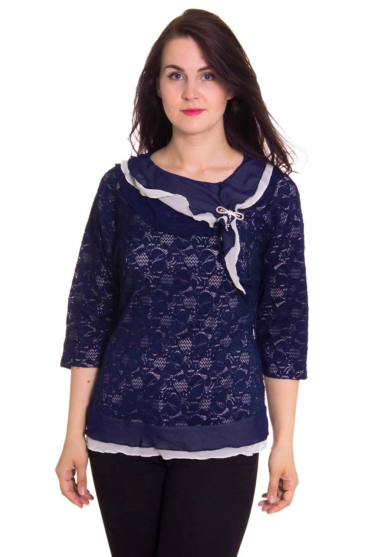 БлузкаБлузки<br>Нарядная женская блузка с декоративным воротником. Модель выполнена из гипюра и шифона. Отличный выбор для любого торжества.  Цвет: синий, белый  Рост девушки-фотомодели 180 см<br><br>Горловина: С- горловина<br>По образу: Город,Свидание,Выход в свет<br>По рисунку: Цветные<br>По сезону: Весна,Всесезон,Зима,Лето,Осень<br>По силуэту: Полуприталенные<br>По элементам: С декором<br>Рукав: Рукав три четверти<br>По материалу: Гипюр,Шифон<br>По стилю: Винтаж,Молодежный стиль,Нарядный стиль,Повседневный стиль<br>Размер : 56,58,60,62,64,66,68<br>Материал: Гипюр + Шифон<br>Количество в наличии: 2