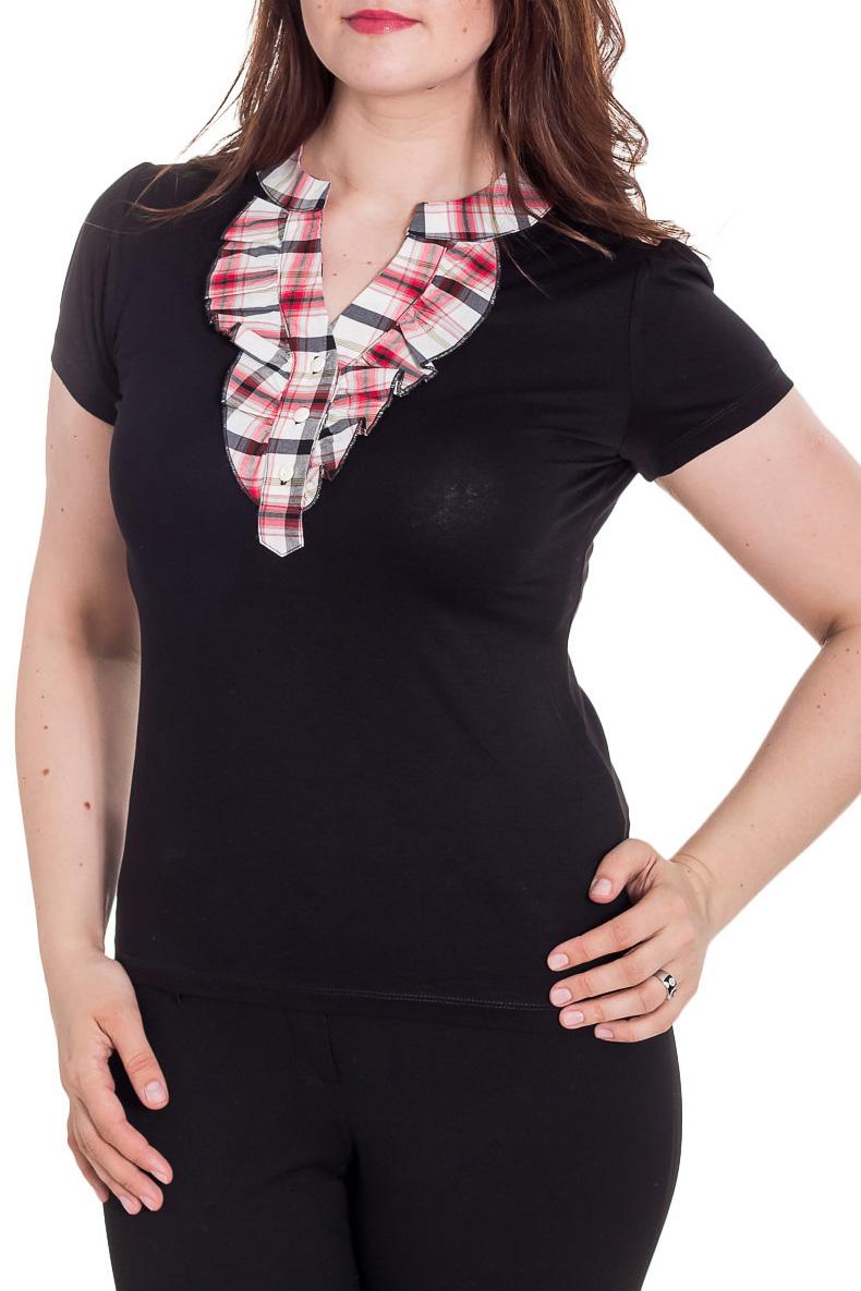 БлузкаБлузки<br>Красивая блузка с короткими рукавами. Модель выполнена из мягкой вискозы. Отличный выбор для повседневного гардероба.  Цвет: черный, белый, красный  Рост девушки-фотомодели 180 см<br><br>По материалу: Вискоза<br>По рисунку: С принтом,Цветные,В клетку<br>По сезону: Весна,Зима,Лето,Осень,Всесезон<br>По силуэту: Полуприталенные<br>По стилю: Повседневный стиль<br>Рукав: Короткий рукав<br>Горловина: Фигурная горловина<br>Застежка: С пуговицами<br>По элементам: С декором<br>Размер : 48,50<br>Материал: Вискоза<br>Количество в наличии: 2
