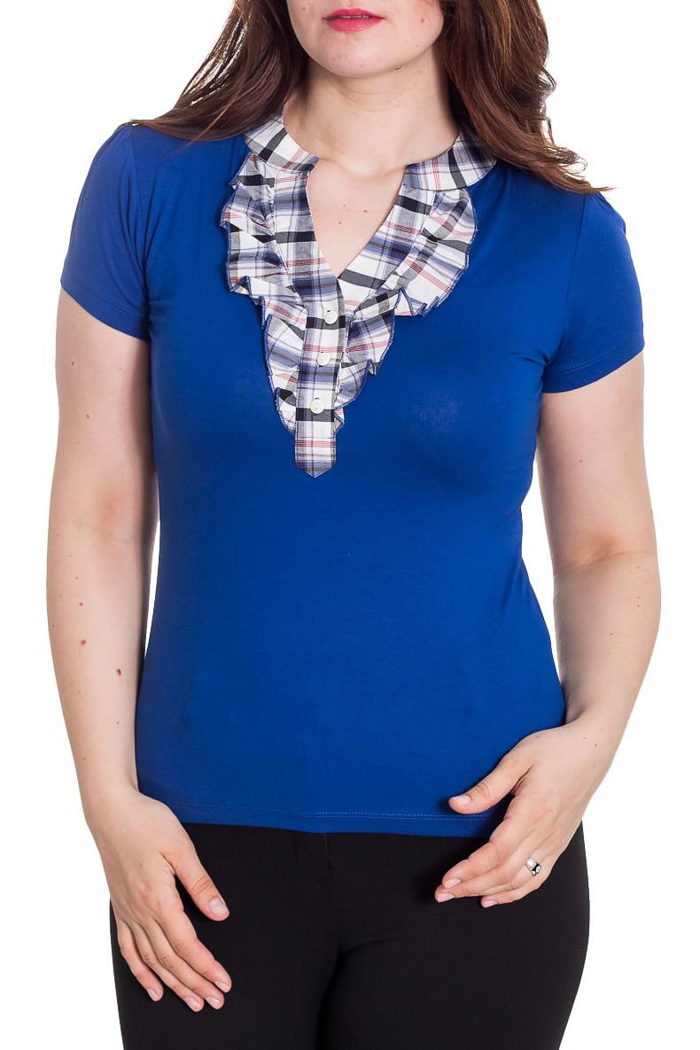 БлузкаБлузки<br>Красивая блузка с короткими рукавами. Модель выполнена из мягкой вискозы. Отличный выбор для повседневного гардероба.  Цвет: синий, белый  Рост девушки-фотомодели 180 см<br><br>По материалу: Вискоза<br>По образу: Город<br>По рисунку: С принтом,Цветные<br>По сезону: Весна,Зима,Лето,Осень,Всесезон<br>По силуэту: Полуприталенные<br>По стилю: Повседневный стиль<br>Рукав: Короткий рукав<br>Горловина: Фигурная горловина<br>Размер : 48<br>Материал: Вискоза<br>Количество в наличии: 1