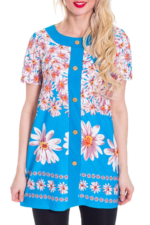 ТуникаТуники<br>Домашняя туника с короткими рукавами и пуговицами. Домашняя одежда, прежде всего, должна быть удобной, практичной и красивой. В тунике Вы будете чувствовать себя комфортно, особенно, по вечерам после трудового дня.  Цвет: голубой, белый, розовый.  Рост девушки-фотомодели 170 см<br><br>Горловина: С- горловина<br>По длине: Удлиненные<br>По рисунку: Растительные мотивы,Цветные,Цветочные,С принтом<br>По сезону: Весна,Зима,Лето,Осень,Всесезон<br>По силуэту: Свободные<br>Рукав: Короткий рукав<br>По материалу: Хлопок<br>Размер : 44,46,54<br>Материал: Трикотаж<br>Количество в наличии: 5