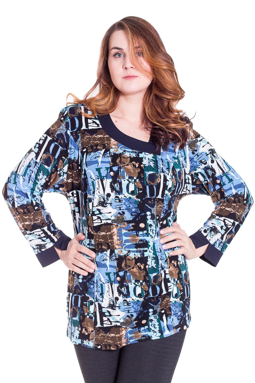 ТуникаТуники<br>Красивая туника с фигурной горловиной и длинными рукавами. Модель выполнена из приятного трикотажа. Отличный выбор для повседневного гардероба.  Цвет: синий, голубой, бежевый  Рост девушки-фотомодели 180 см.<br><br>По образу: Город,Свидание<br>По стилю: Повседневный стиль<br>По материалу: Трикотаж,Вискоза<br>По рисунку: Цветные,Абстракция<br>По сезону: Весна,Осень<br>По силуэту: Свободные<br>Рукав: Длинный рукав<br>Горловина: Асимметричная горловина<br>Размер: 62,66,70,74,78<br>Материал: 100% вискоза<br>Количество в наличии: 5