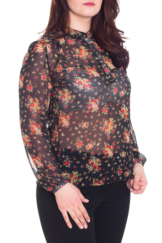 БлузкаБлузки<br>Свободная блузка с длинными рукавами. Модель выполнена из воздушного шифона. Отличный выбор для любого торжества.  Цвет: черный, бежевый, красный  Рост девушки-фотомодели 180 см.<br><br>Воротник: Стойка<br>По материалу: Шифон<br>По рисунку: Растительные мотивы,С принтом,Цветные,Цветочные<br>По сезону: Весна,Всесезон,Зима,Лето,Осень<br>По силуэту: Свободные<br>По стилю: Нарядный стиль,Повседневный стиль<br>Рукав: Длинный рукав<br>Размер : 46,50<br>Материал: Шифон<br>Количество в наличии: 4