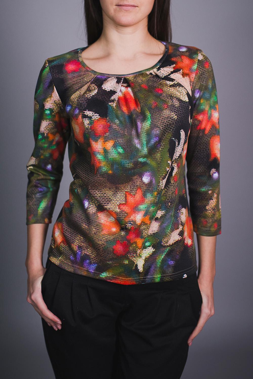 БлузкаБлузки<br>Цветная блузка полуприталенного силуэта. Модель выполнена из приятного материала. Отличный выбор для повседневного гардероба.  В изделии использованы цвета: коричневый, оранжевый и др.  Ростовка изделия 170 см.<br><br>Горловина: С- горловина<br>По материалу: Трикотаж<br>По рисунку: Растительные мотивы,С принтом,Цветные,Цветочные<br>По сезону: Весна,Зима,Лето,Осень,Всесезон<br>По силуэту: Полуприталенные<br>По стилю: Повседневный стиль<br>По элементам: Со складками<br>Рукав: Рукав три четверти<br>Размер : 42,44,48<br>Материал: Трикотаж<br>Количество в наличии: 3