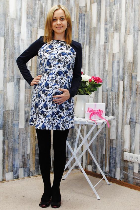 ТуникаТуники для будущих мам<br>Оригинальная трикотажная туника с длинным рукавом свободного кроя. Изделие лаконичного дизайна выполнено из качественного материала. Модель станет прекрасной составляющей Вашего повседневного гардероба, подойдёт с брючками прямого и зауженного кроя, а так же с лосинвми. Можно носить на любом сроке беременности и после родов.  В изделии использованы цвета: синий, белый  Параметры для 42 размера:  Длина изделия по спинке 82 см. Длина рукава 64 см.  Ростовка изделия 170 см<br><br>Горловина: С- горловина<br>По материалу: Вискоза,Трикотаж<br>По образу: Город<br>По рисунку: С принтом,Цветные<br>По силуэту: Полуприталенные<br>По стилю: Повседневный стиль<br>Рукав: Длинный рукав<br>По сезону: Зима<br>Размер : 46,48,50,52<br>Материал: Трикотаж<br>Количество в наличии: 4
