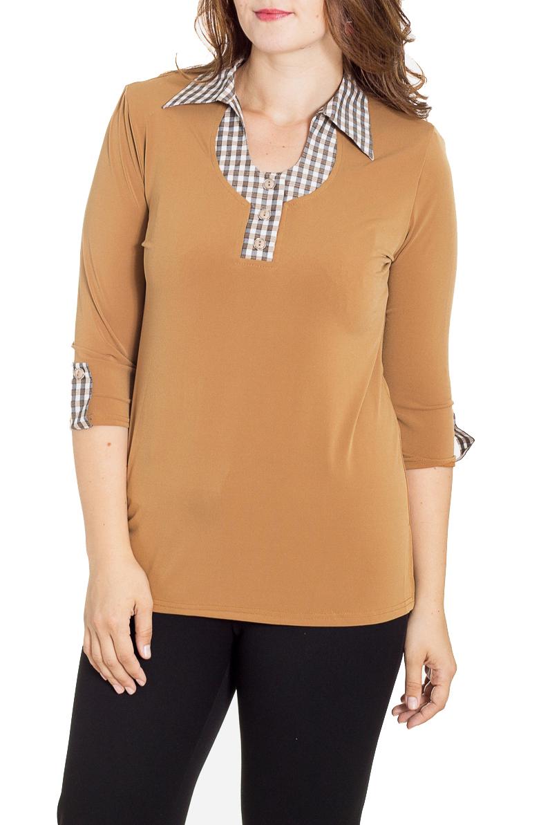 БлузкаБлузки<br>Красивая блузка с рукавами 3/4. Модель выполнена из приятного материала. Отличный выбор для повседневного гардероба.  В изделии использованы цвета: бежевый и др.  Рост девушки-фотомодели 180 см.<br><br>Воротник: Отложной<br>Застежка: С пуговицами<br>По материалу: Трикотаж<br>По рисунку: Однотонные<br>По сезону: Весна,Зима,Лето,Осень,Всесезон<br>По силуэту: Приталенные<br>По стилю: Повседневный стиль<br>По элементам: С патами<br>Рукав: Рукав три четверти<br>Размер : 48,50,52<br>Материал: Холодное масло<br>Количество в наличии: 3