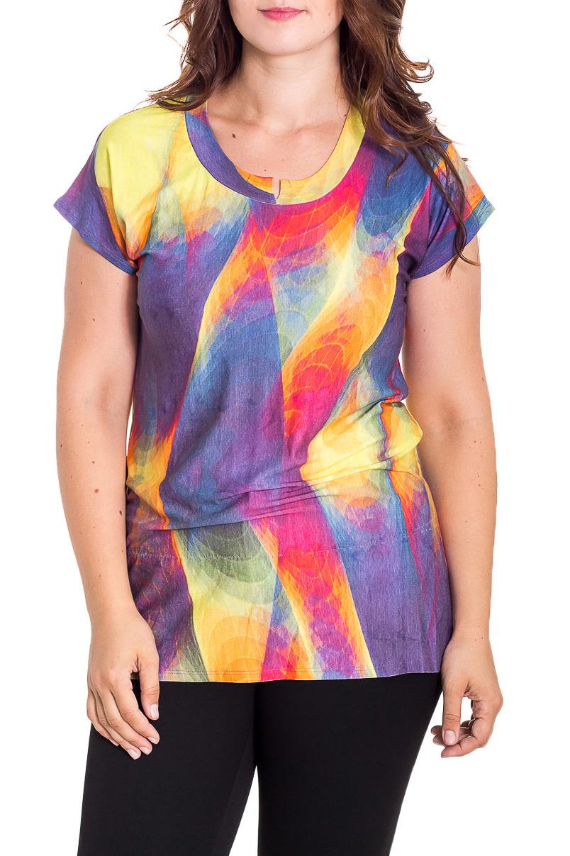 ТуникаТуники<br>Цветная туника с кроткими рукавами. Модель выполнена из мягкой вискозы. Отличный выбор для повседневного гардероба.  В изделии использованы цвета: сиреневый, розовый, желтый и др.  Рост девушки-фотомодели 180 см.<br><br>Горловина: С- горловина<br>По материалу: Вискоза<br>По рисунку: Цветные<br>По силуэту: Прямые<br>По стилю: Повседневный стиль<br>Рукав: Короткий рукав<br>По сезону: Осень,Весна<br>Размер : 52,54,56,58<br>Материал: Вискоза<br>Количество в наличии: 6