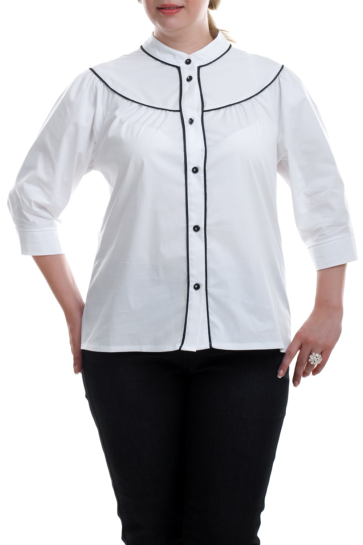 РубашкаРубашки<br>Прекрасная рубашка из приятного материала. Отличный выбор для повседневного и делового гардероба.  Возможны незначительные отличия фурнитуры от картинки.  Цвет: белый, черный  Рост девушки-фотомодели 173 см.<br><br>Воротник: Стойка<br>Застежка: С пуговицами<br>По материалу: Блузочная ткань,Тканевые,Хлопок<br>По рисунку: Цветные<br>По сезону: Весна,Зима,Лето,Осень,Всесезон<br>По силуэту: Полуприталенные<br>По стилю: Офисный стиль,Повседневный стиль<br>По элементам: С декором<br>Рукав: Рукав три четверти<br>Размер : 52,66,68<br>Материал: Блузочная ткань<br>Количество в наличии: 8
